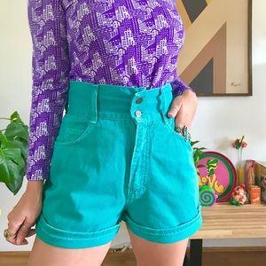 "Vintage 80s turquoise denim shorts S 26/27"""